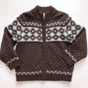Boys Janie & Jack Brown Blue Fair Isle Cardigan 4T